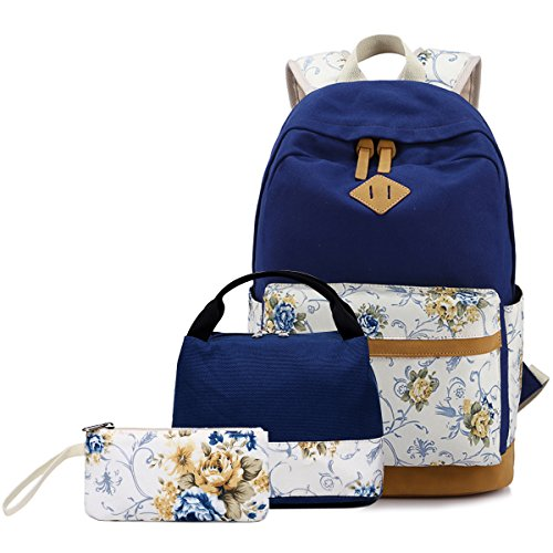 anvas Cute Girls Bookbags for School Teen Girls Backpacks With Lunch Bag (Floral Navy) ()