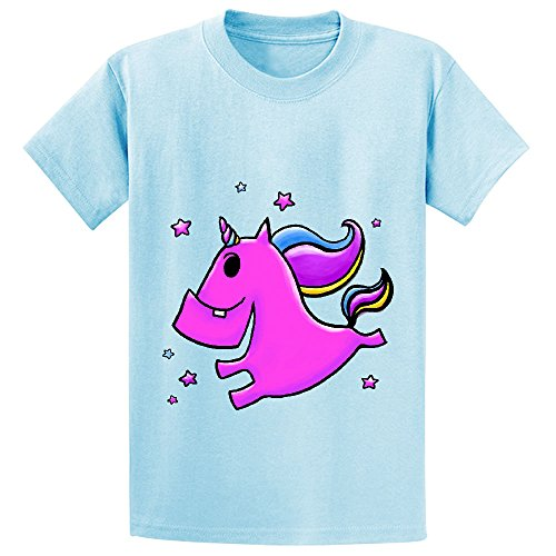 Fab Yoo Lous Unicorn Teen Crew Neck Graphic T Shirts L-blue