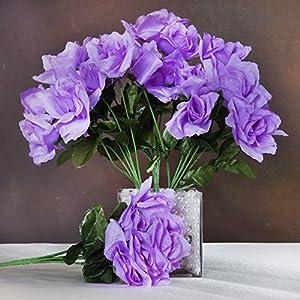 BalsaCircle 84 Lavender Silk Open Roses - 12 Bushes - Artificial Flowers Wedding Party Centerpieces Arrangements Bouquets Supplies 1