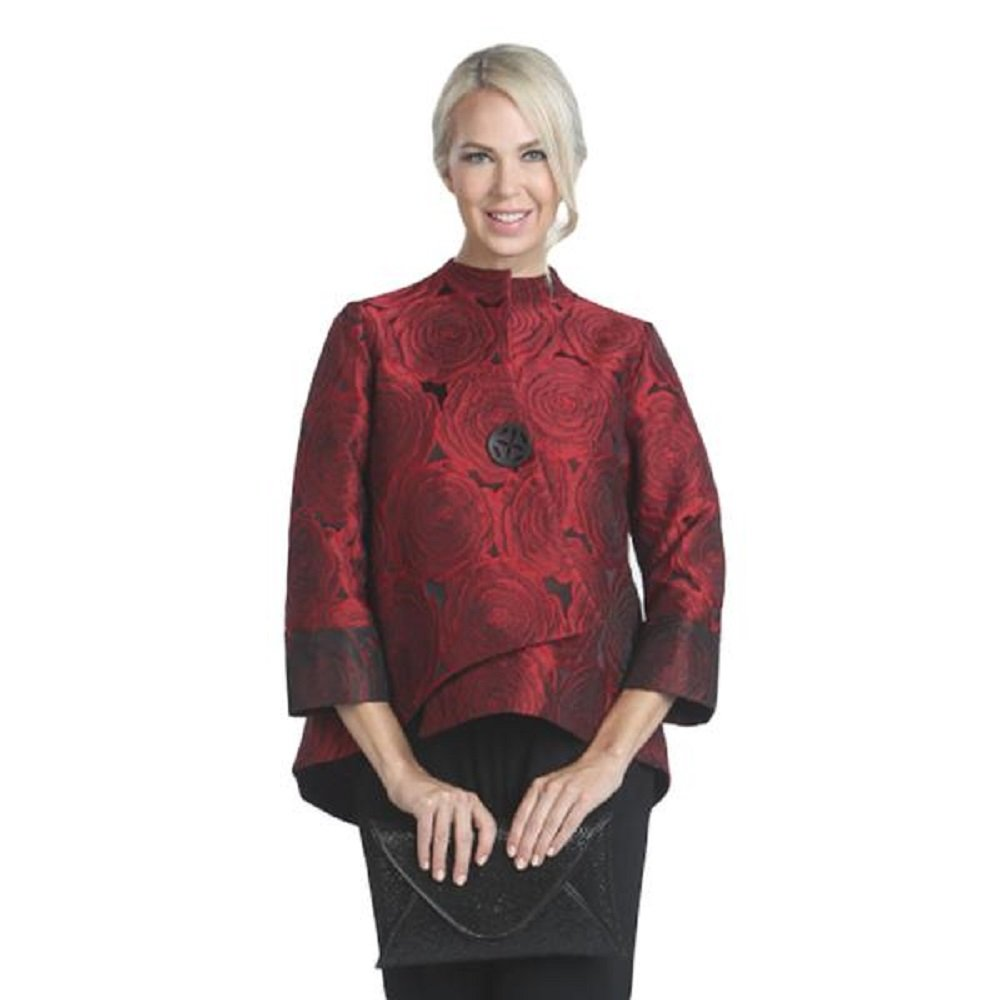 IC Collection Jacquard Asymmetric Jacket in Red - 5145J (XL)