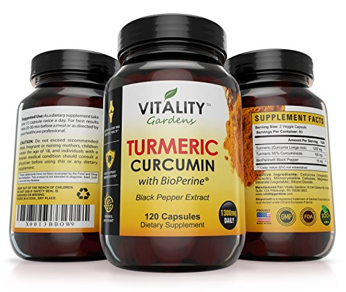 Premium Turmeric Curcumin with Bioperine or Black Pepper, 1300 mg Per Serving,120 Capsules, Non-GMO, Anti-Inflammatory, Antioxidant, 95 % Standardized, Ground Root Powder for Maximum Potency For Sale