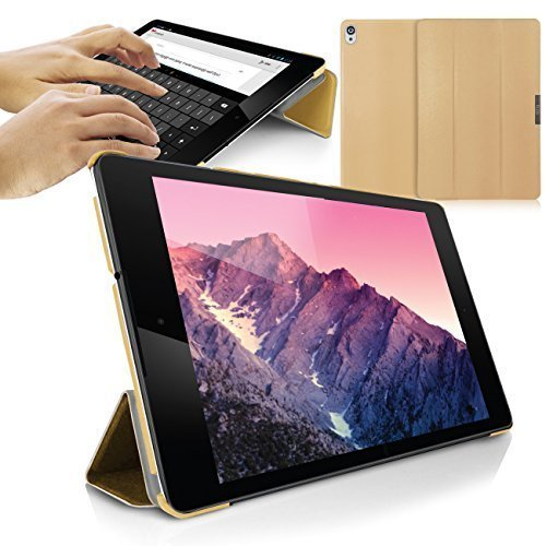 Orzly Nexus 9 Case, SlimRim Tablet Case for NEXUS 9 with AUTO WAKE SLEEP SENSORS - ULTRA SLIM Rim Style Tablet Case in GOLD with Built-In Stand and Magnetic Lid for Secure Fastening (Orzly Slim Rim Case)