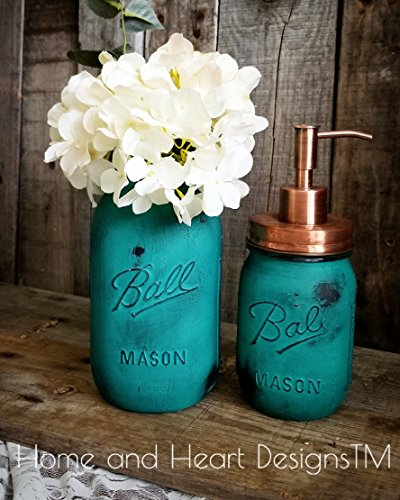 - Eye catching Annie Sloan hand painted mini set with metal copper lid and pump