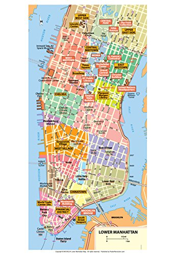 Michelin Official Lower Manhattan NYC Map Art Print Poster 13 x - Frames Nyc In