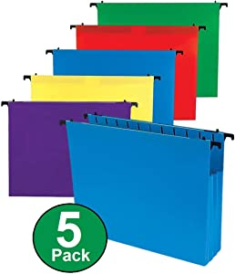 1InTheOffice Poly Expanding Hanging File Folders, Letter Size, Assorted, 5/Pack