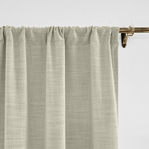 Liz Curtain (ChadMade 50W x 96L Inch Sand Beige Faux Linen Curtain Drapes with Blackout Lining, Rod Pocket Curtain for Sliding Glass Door Patio Door Living Room Bedroom (1 Panel) Liz Collection)