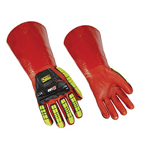 - Ringers 074-08 R-Chem Level-5 Cut-Resistance Chemical Impact Resistant Medium-Cuff Gloves, High Visibility Orange, Small