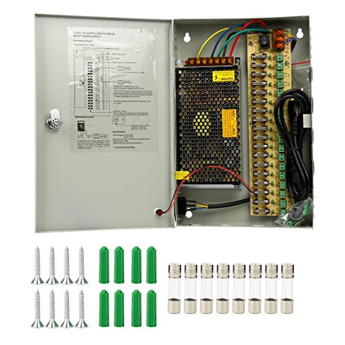 Yaetek Key Lock 18 Channel DC 12V CCTV Distributed Power Supply Box for Security Surveillance Camera (12V 10A 120W 18OutPut)