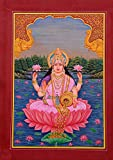 Lakshmi Hindu Goddess Art Handmade Indian Religious Miniature Spiritual Painting Lively to Decor Your Home Hotel Office Bedroom Lobby or Living Room