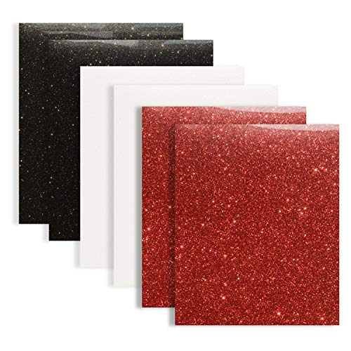 Glitter Heat Transfer Vinyl 12x10 Iron On HTV Vinyl for Tshirts(Black & White & Red)