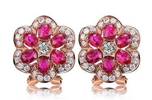 Gowe Forme de fleur véritable Pierre précieuse de rubis 1.5CT Certifié Rubis Boucles d'oreille à tige avec diamant 0,5ct Or rose 18K (Au750)