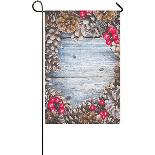 Starochi Welcome Flags Rustic Christmas Pine Cone and Red Berries Yard Garden Flag 12 x 18 Inches