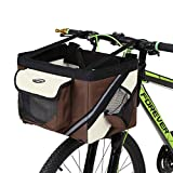 Bicycle Pet Carrier,Traveler 2-in-1 Pet Bike Basket and Over The Shoulder Carrier (Brown)