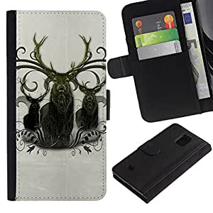 KingStore / Leather Etui en cuir / Samsung Galaxy S5 Mini, SM-G800 / Ciervo Antlers Majestic Animal del Norte