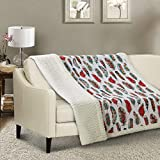 Virah Bella Southwestern Feathers 3pc Full Queen Quilt Set/Western Ranch Bedding (Sherpa Throw)