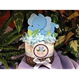 BLUE ELEPHANT Mini Diaper Cakes - Handmade By LMK Gifts - Gift For Boy or Girl - Makes a Great Baby Shower Centerpiece