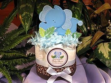 Amazon.com: Elefante, color azul Mini pañal Cakes – Hechos A ...