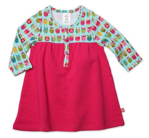 Zutano Baby Girls' Owls Henley Dress, Aqua, 18 Months