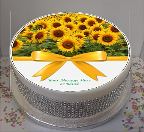 Personalised Bright Sunflowers with bow 19cm / 7.5