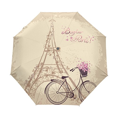 Naanle Romantic Paris Eiffel Tower Bicycle Auto Open Close Foldable Travel Umbrella by Naanle