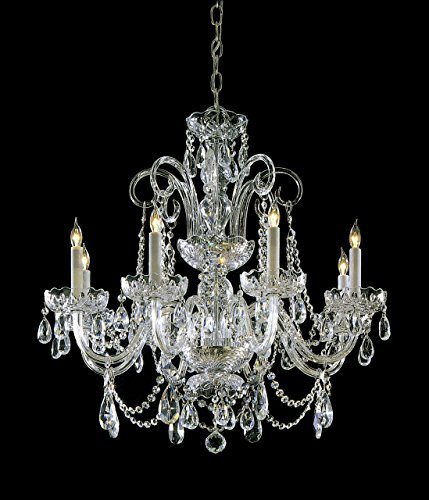 Crystorama 5008-PB-CL-S Crystal Eight Light Chandelier from Traditional Crystal collection in Brass-Polished/Castfinish, Collection Polished Silver Fixture