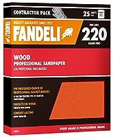 "Fandeli 36014 220 Grit Wood Sandpaper Sheets, 9"" x 11"", 25-Sheet"