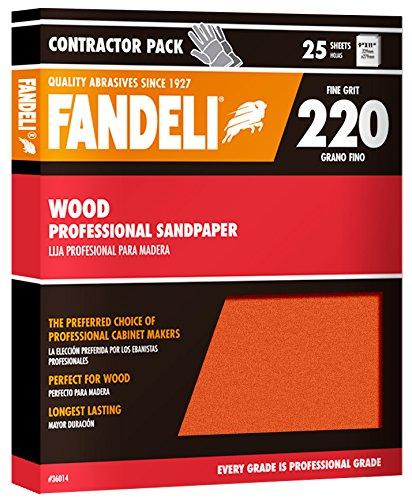 Fandeli 36014 220 Grit Wood Sandpaper Sheets, 9''  x 11'', 25-Sheet