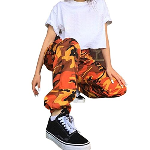 Tsmile Women Pants Clearance Autumn Fashion Sports Camo Cargo Pants Outdoor Casual Camouflage Trousers Jeans (Orange, - Pants Cargo Camouflage