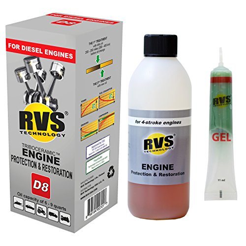 RVS Technology D8 engine treatment. For Diesel engines with an oil capacity up to 9 quarts. Restore and protect your engine, save fuel, increase power. Safe for all engines.