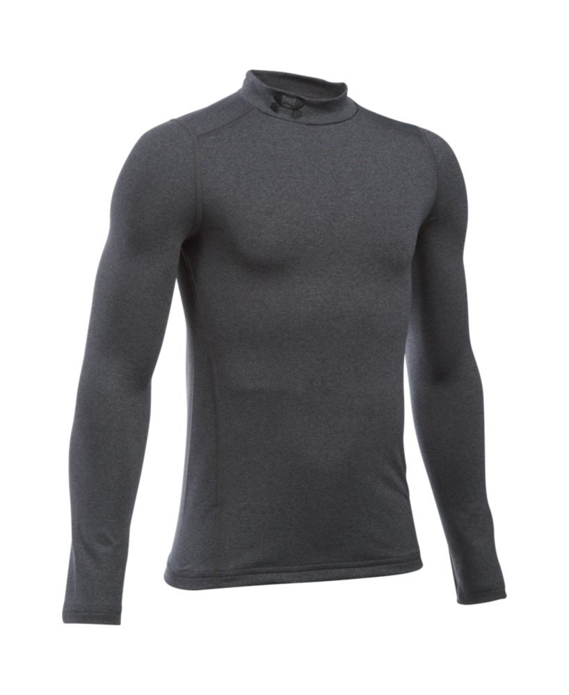 Under Armour Boys' ColdGear Armour Mock, Carbon Heather (090)/Black, Youth Small by Under Armour (Image #2)
