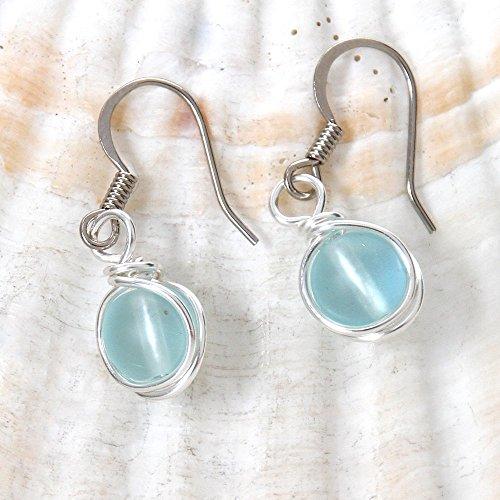 Light Aqua Blue Faux Beach Glass Bead Earrings - Casual Wear Handmade Wire Wrapped Jewelry