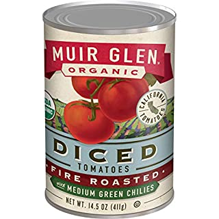 Muir Glen Organic Diced Fire Roasted Tomatoes With Medium Green Chilies, 12 Cans, 14.5 oz