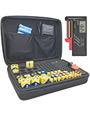 Battery Organizer Storage with Tester, Hand Case Bag Holder - Holds 152 Batteries AA AAA C D 9V Button Battery and Digital Battery Tester