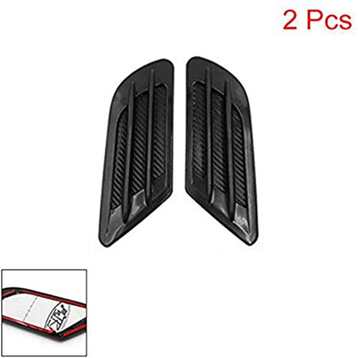 ZYHW Car Air Flow Sticker Carbon Fiber Print Adhesive Side Vent Fender Intake Decor Black 2Pcs