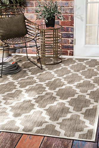 Outdoor Moroccan Trellis Taupe Area Rugs, 5 Feet 3 Inches by 7 Feet 6 Inches(5′ 3″ x 7′ 6″) Review