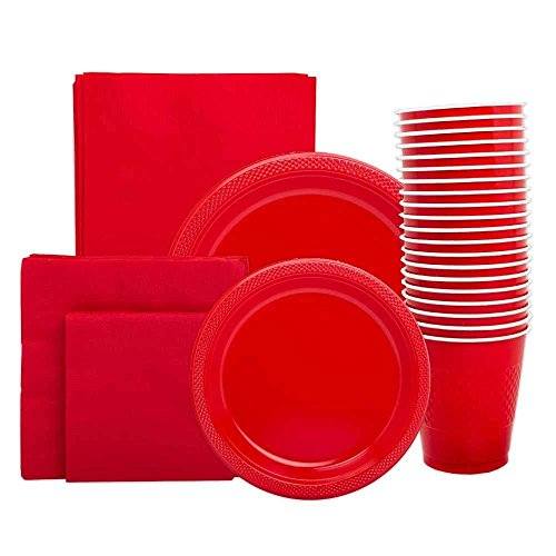 JAM Paper Party Supply Assortment Pack - Red - Plates (2 Sizes), Napkins (2 Sizes), Cups (1 pack) & Tablecloth (1 pack) - 6/pack