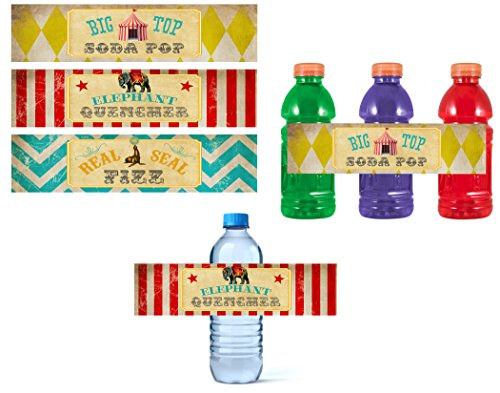 Elephant Silly Circus - Silly Goose Gifts Retro Circus Themed Party Supply Supplies Invite Decor Birthday Carnival Food Signs (Drink Decoration)