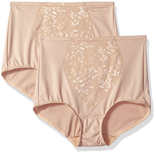 Bali Women's Tummy Panel Brief Firm Control 2-Pack, Nude Jacquard, Large