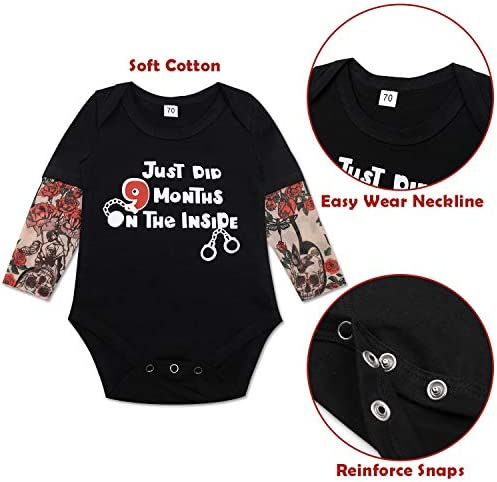 Infant Baby Boys Jumpsuit Funiup Baby Boby Girl Tattoo Sleeve Romper Nine Month on Inside Long Sleeve Bodysuit Clothes
