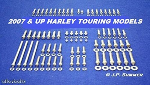 (ALLOYBOLTZ - 2007-2016 HARLEY TOURING ULTRA ELECTRA GLIDE ROAD GLIDE ROAD KING STREET GLIDE POLISHED STAINLESS STEEL ENGINE TRANSMISSION BOLT KIT SET)