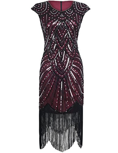 PrettyGuide Women 1920s Gastby Sequined Embellished Fringed Flapper Dress Luxury Burgundy (Burgundy Embellished)