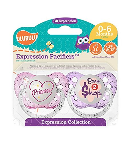 UlubuluExpression Pacifier 2 pack -- Princess and Born To Shop