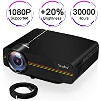 Movie projector,Yaufey(2018 Upgraded) Digital Portable Projector Home Theater Outdoor Overhead Projectors Support 1080P HDMI USB SD Card VGA AV Compatible with TV Laptop Xbox with Free HD Cable(Black)