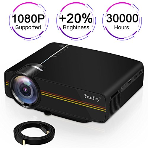 Pc Audio Overhead (Movie projector,Yaufey(2018 Upgraded) Digital Portable Projector Home Theater Outdoor Overhead Projectors Support 1080P HDMI USB SD Card VGA AV Compatible with TV Laptop Xbox with Free HD Cable(Black))