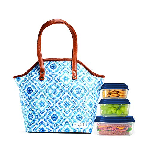 (Fit & Fresh Davenport Insulated Lunch Bag Kit with BPA-Free Containers, Cobalt Floral Diamonds)