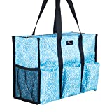 Pursetti Teacher Bag with Pockets - Perfect Gift for Teacher's Appreciation and Christmas (Blue Lattice)