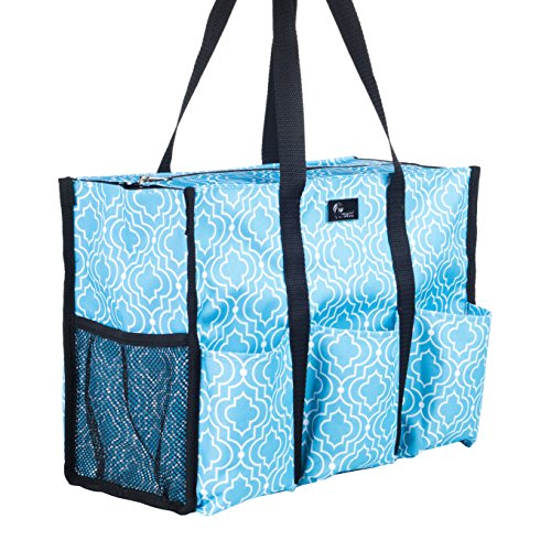 Pursetti Teacher Bag with Pockets - Perfect Gift for Teacher's Appreciation and Christmas (Blue Lattice) by Pursetti