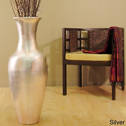 Lacquer Tall Vase | Natural bamboo | 36-inch with Branches in (Sliver) (African Tall Vase)