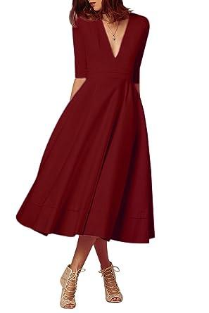 0d9c9d89765 YMING Femme Robe en Col V Divisé Vintage Robe de Soirée Cocktail Robe A-line
