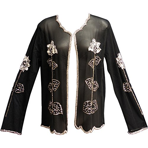 (Missy Black Sequined Beaded Sheer Long Sleeve Evening Bolero Jacket Blouse Top (Silver))